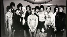 Warhol Factory: Gino P?, Paul Morrisey, Geraldine Smith, ?, Candy Darling, ?, Eric Emerson (center), Gerard Malanga, Bridget Berlin, Taylor Mead, Joe Dallesandro, Andy Warhol & Ultra Violet (seated).