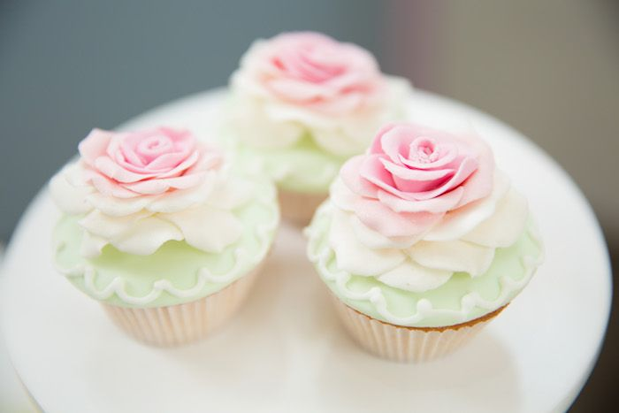 Rose-topped cupcakes from Shabby Chic Little Bird Birthday Party at Kara's Party Ideas. See the many little details at karaspartyideas.com