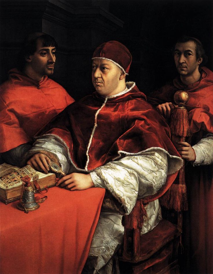 RAFFAELLO Sanzio - Pope Leo X with Cardinals Giulio de' Medici and Luigi de' Rossi, 1518-19