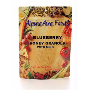Blueberry Honey Granola with Milk - 6.5oz. (184g) Fat free granola with white wheat flakes, hulled barley flakes, honey, cinnamon, freeze-dried blueberries, sliced almonds & instant non-fat milk. Serves 2 Nutrition Facts: - Calories: 330 - Calories from Fat: 15 - Total Fat: 2g - Saturated Fat: 0g - Trans Fat: 0g - Cholesterol: 5mg - Sodium: 125mg - Total Carbohydrate: 54g - Dietary Fiber: 4g - Sugars: 7g - Protein: 14g - Vitamin A: 0% - Calcium: 35% - Vitamin C: 4% - Iron: 15%