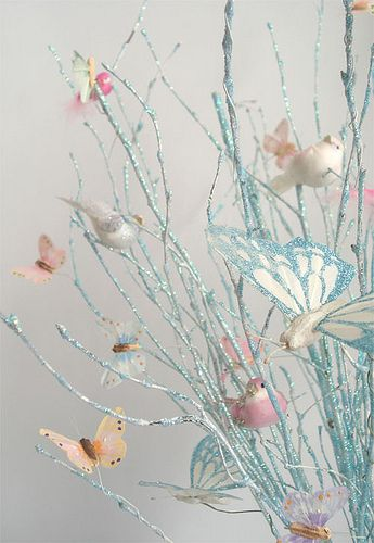 butterflies, and white instead of blue. spray glitter branches?? love how the branches look