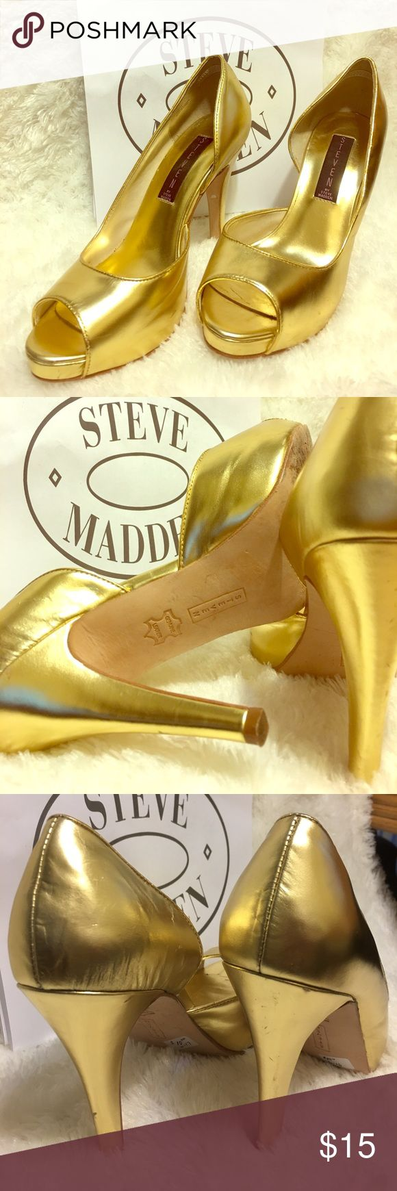 💕Steve Maden Gold Open toes Heels Size 7.5M This chic will make your feet alive. Stunning sexy stilettos. In gold metallic finish. You'll stand firm when in use. Steve Maden Shoes Heels