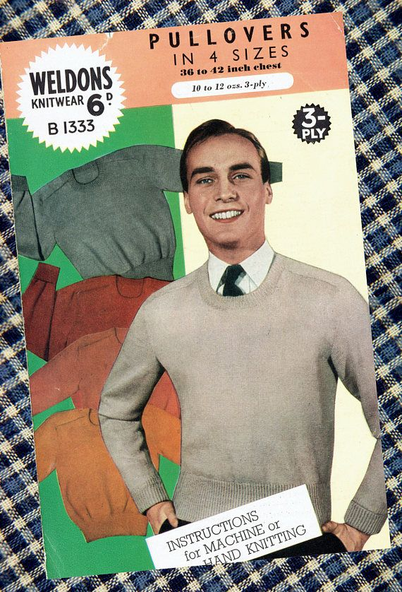 Original Vintage 1940s Weldons B1333 Knitting Pattern Mens