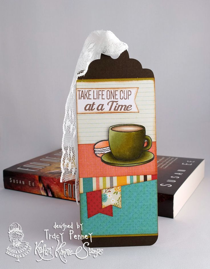 Stamp: One Cup at a Time (Kraftin' Kimmie Stamps). Die: Large Bookmark/tag die (Your Next Stamp) Paper: Simple Stories We Are Family
