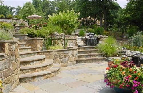 Tiered Backyard With Pool :  Backyard Terraces Backyard Landscaping Rowan Landscape & Pools Fulton