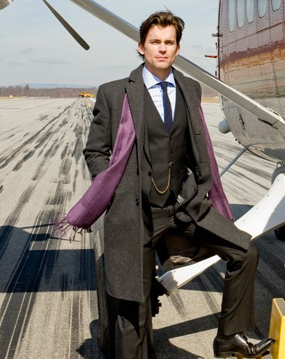 Purple scarf, gray suit, put together for men