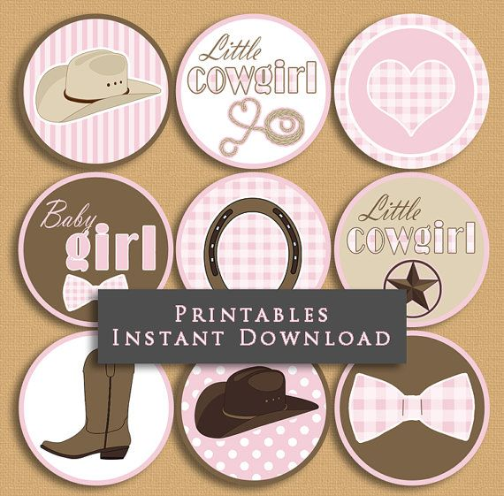 Little Cowgirl Baby Shower Cupcake Toppers by JannaSalakDesigns