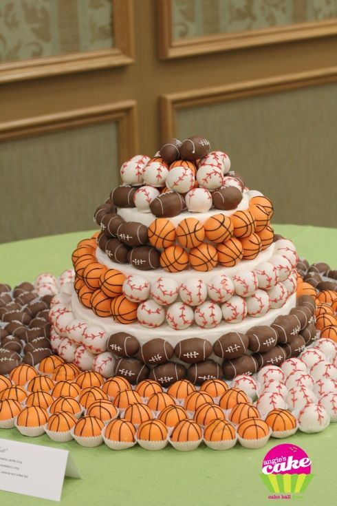 Sports cake decorated with cake balls