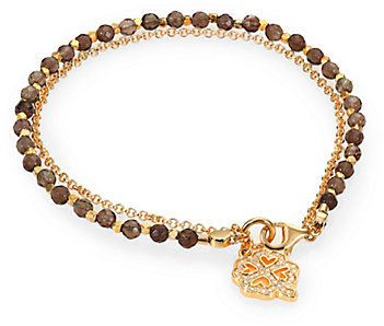 Astley Clarke Biography Smoky Quartz Four-Leaf Clover Beaded Friendship Bracelet on shopstyle.com