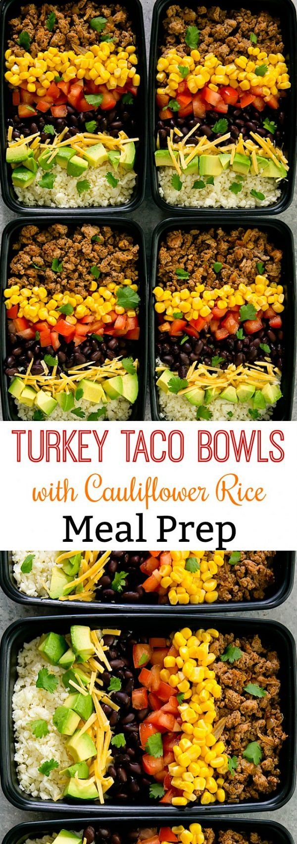 Skinny turkey taco bowls are served with cauliflower rice for a healthy, low carb and flavorful meal that can be prepped ahead of time for your weekly meal prep. Each container is filled with lean ground turkey cooked in taco seasoning, black beans, corn, tomatoes, avocado, shredded cheese, cilantro, and cauliflower rice. You can also …
