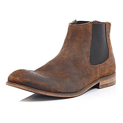 Brown worn suede Chelsea boots £65.00