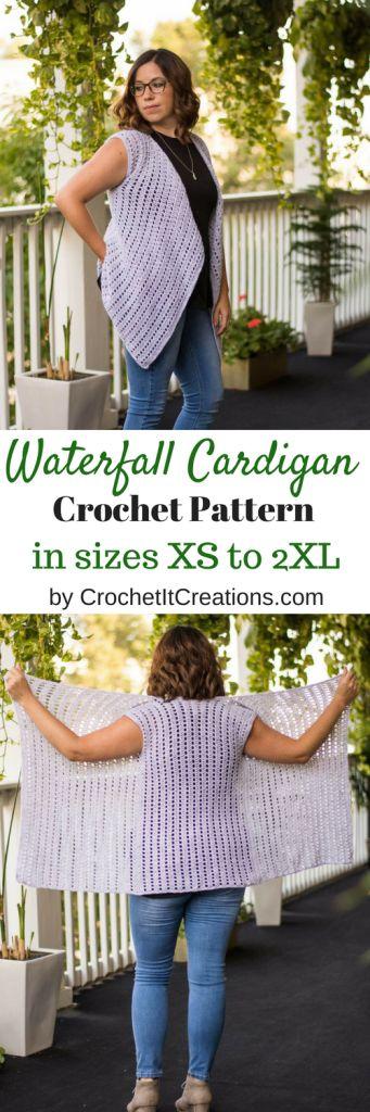 Waterfall Cardigan Sweater FREE Crochet Pattern by