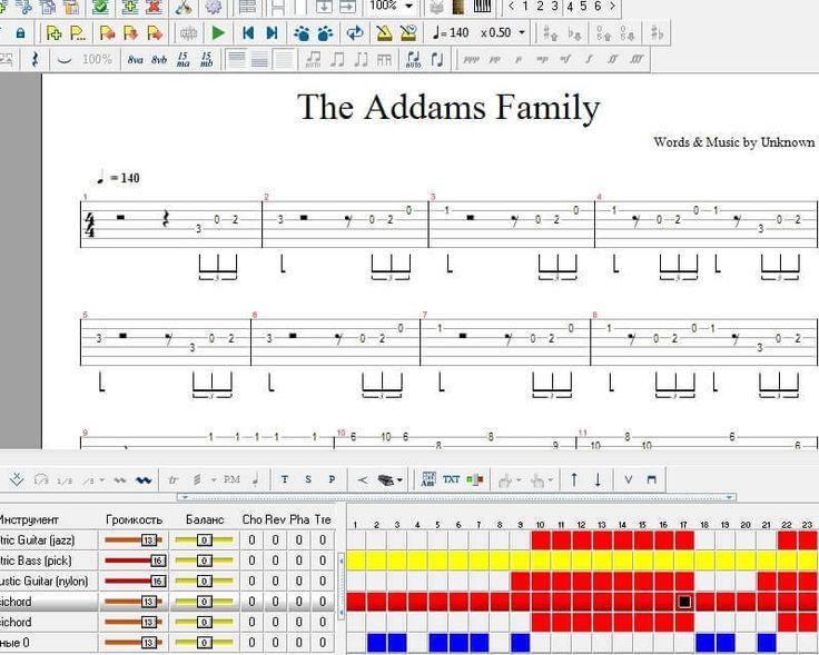 Семейка Аддамс: тема (ноты Guitar Pro, табы для гитары, саундтрек)