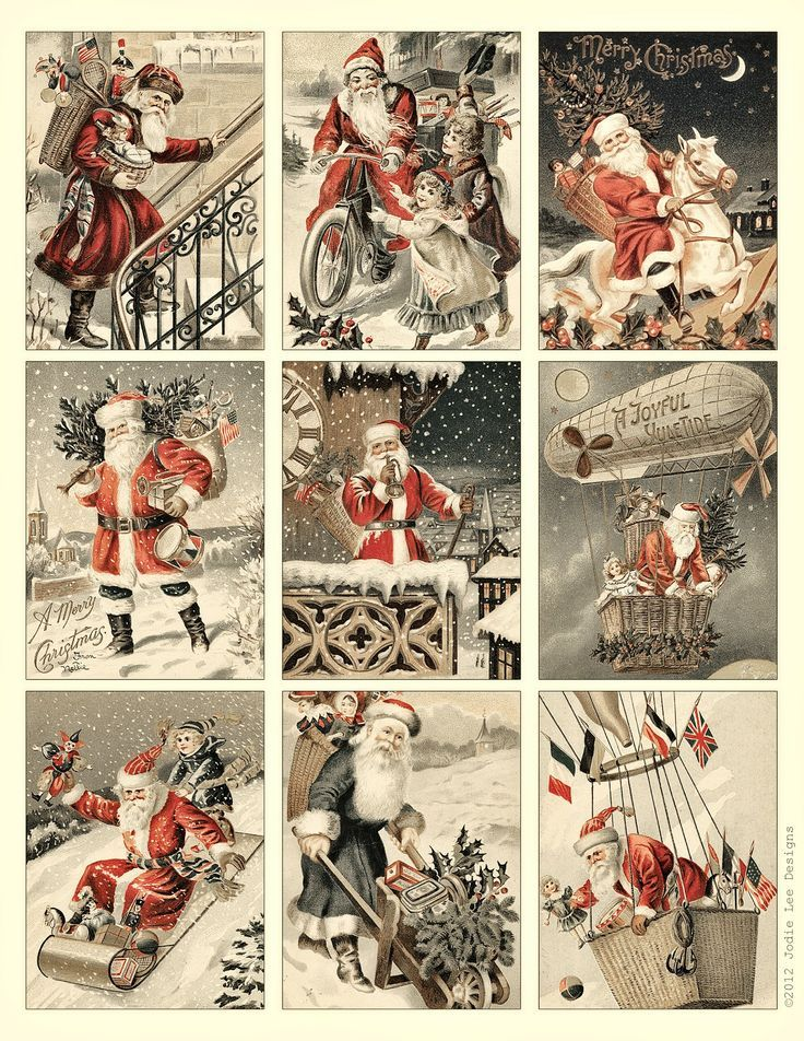 Free to Download! Printable Vintage Santa Tags or cards.