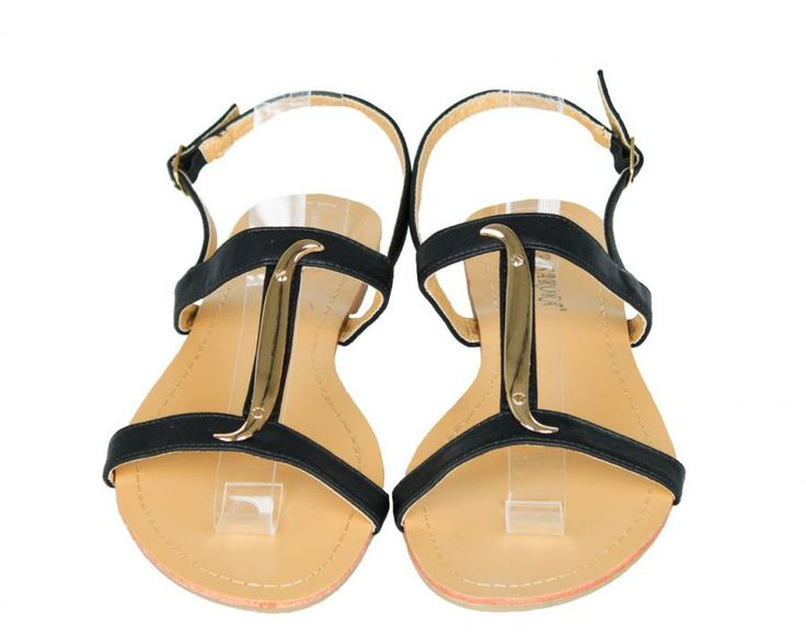 Sandale Dama Snake Black  -Sandale dama talpa joasa  -Design interesant  -Detaliu auriu  -Se inchid cu catarama