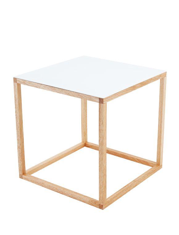 | CAR möbel | PT PRESENT TIME | Moderner, schlichter, quadratischer Beistelltisch mit einer weiß lackierten Oberfläche aus MDF.