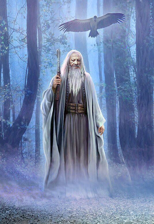 Merlin l'Enchanteur : Connu sous les noms de « Myrddin » ou « Myrdhin » en gallois, « Merzhin » ou « Marzhin » en breton et en cornique, Merlin est généralement représenté comme un mage bénéfique commandant aux éléments naturels et aux animaux.