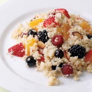 * Quinoa & Fruit Salad: EVOO (or coconut oil), OJ, apple cider vinegar, shallots, (Himalyan Pink) salt, pepper, quinoa (instead of couscous, organic nectarine, fresh berries of choice, toasted sliced almonds