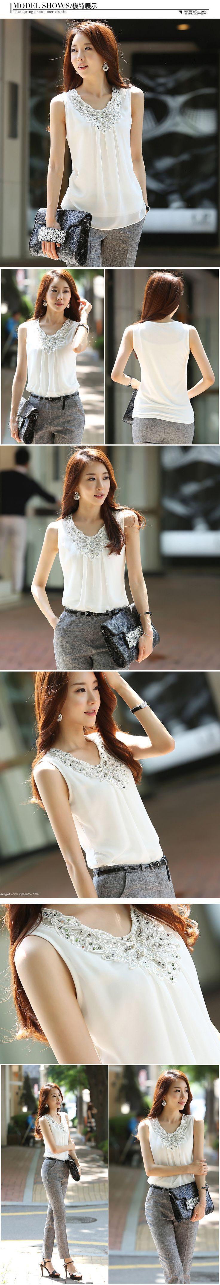 2015 mujeres del verano blusa camisas camiseta sin mangas ocasional de la gasa de diamante brillante de encaje blusas tallas grandes mujeres camiseta Tops en Blusas y Camisas de Moda y Complementos Mujer en AliExpress.com | Alibaba Group