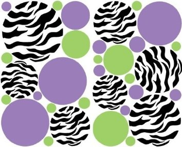 Love this as a color scheme. Amazon.com: Zebra Print Dots Purple Green Wall Stickers / Decals / Decor: Home & Kitchen. This is going to be my new wallpaper whenever we buy a house