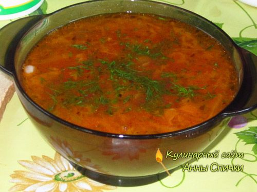 Постный борщ с фасолью  Сегодня я хочу предложить вам рецепт - как приготовить постный борщ с фасолью. Это один из мох самых любимых борщей. Думаю он и вам понравится! Ингредиенты:  1 стакан фасоли, 4 картофелины, 3 луковицы, 1 морковь, 1 свекла, 1/4 головки средней капусты.  0,5 л. томатного сока, Соль, перец, лаврушка, Укроп, чеснок, Растительное масло для жарки.