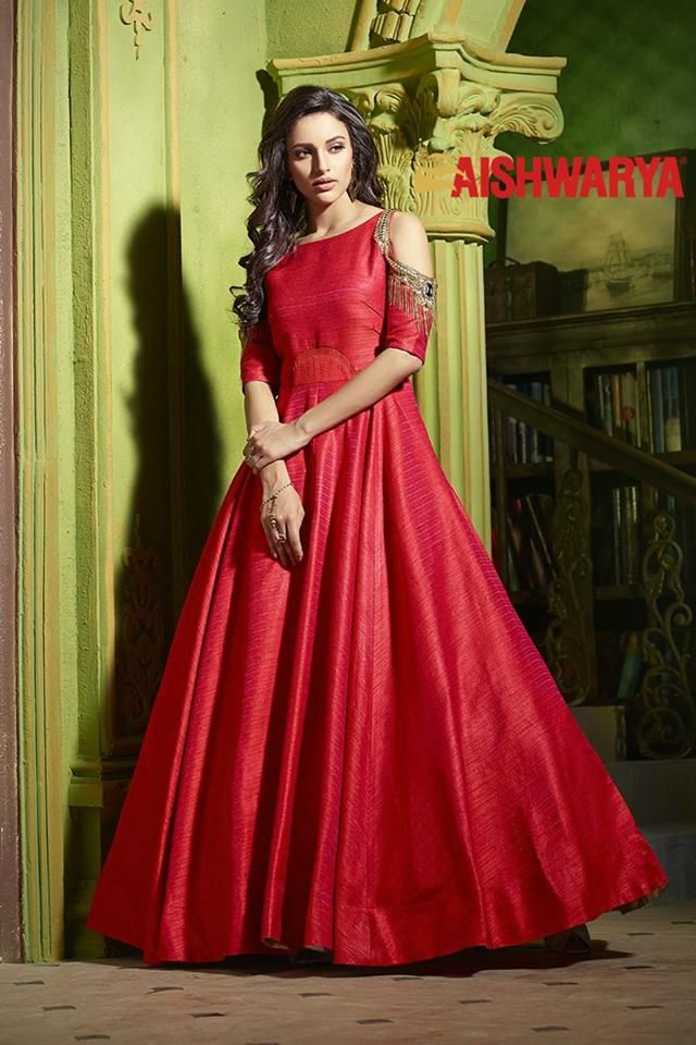Look breathtaking in this spectacular red designer floor length suit now available at FLAT15% off! Buy Suit online - http://www.aishwaryadesignstudio.com/alluring-red-cold-shouldered-anarkali