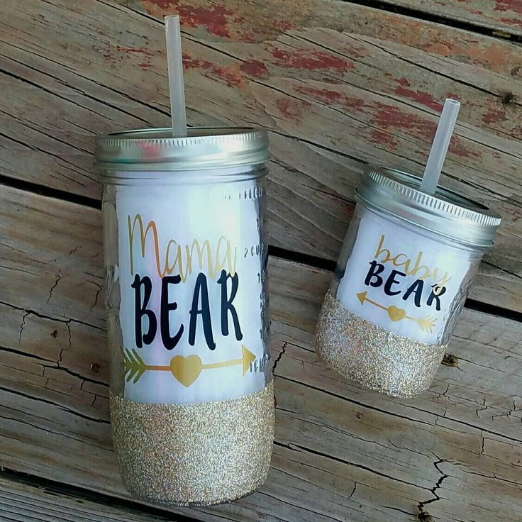 Matching Mama Bear Baby Bear glitter dipped with tribal arrow mason jar To-Go cup Mason jar with straw mason jar with lid Mommy Daughter by LivisLoveBoutique on Etsy https://www.etsy.com/listing/270172205/matching-mama-bear-baby-bear-glitter