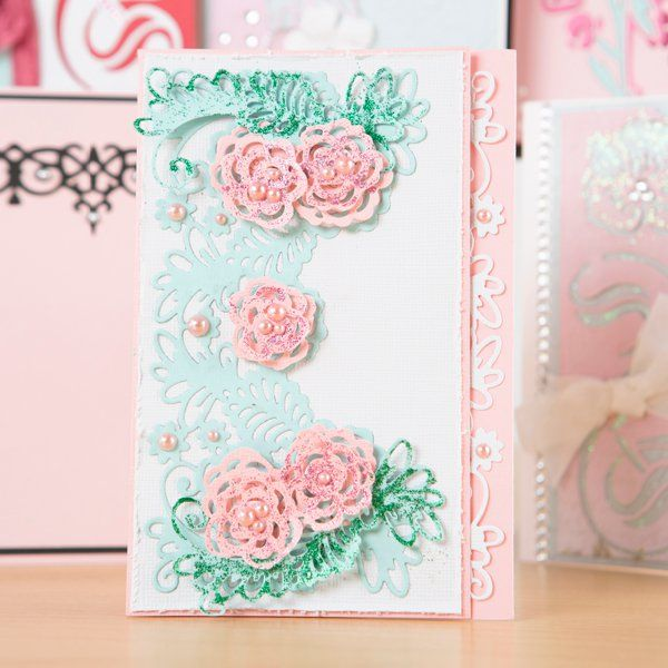 Intricutz On the Edge Rosey Ferns Footer Die (373280) | Create and Craft