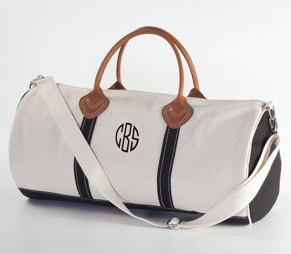 Con monograma maletín redondo | Lienzo personalizado y viajes de cuero bolso Weekender