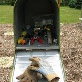 Coolest idea yet…..  Mailbox in the garden to hold gloves and tools. Keeps things dry and clean and right where you need them. Could make that so cute.