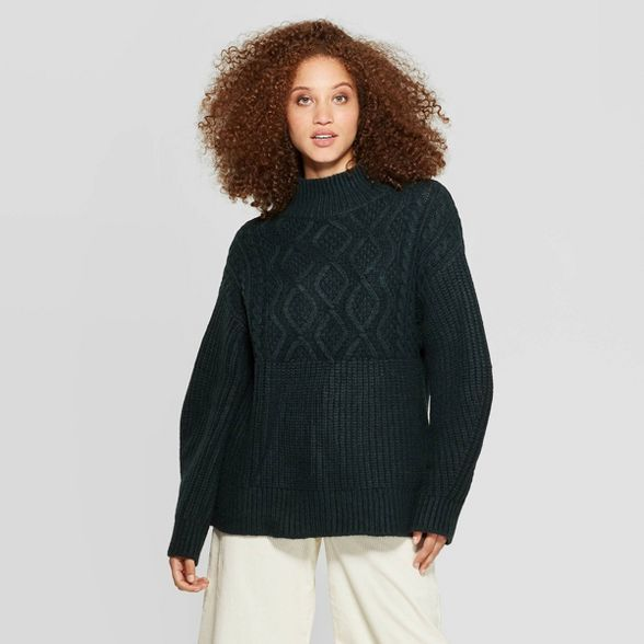 Women's Long Sleeve Mock Turtleneck Pullover Sweater A New