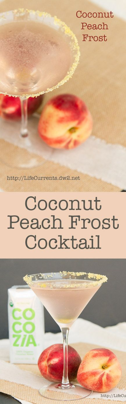 Coconut Peach Frost Cocktail beverage or a Coconut Peach Frost Mocktail if you prefer, and a review of Cocozia Coconut Water.