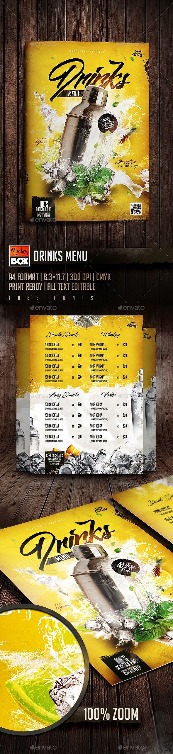 Drinks Menu — Photoshop PSD #mojito • Download ➝ https://graphicriver.net/item/drinks-menu/19746229?ref=pxcr