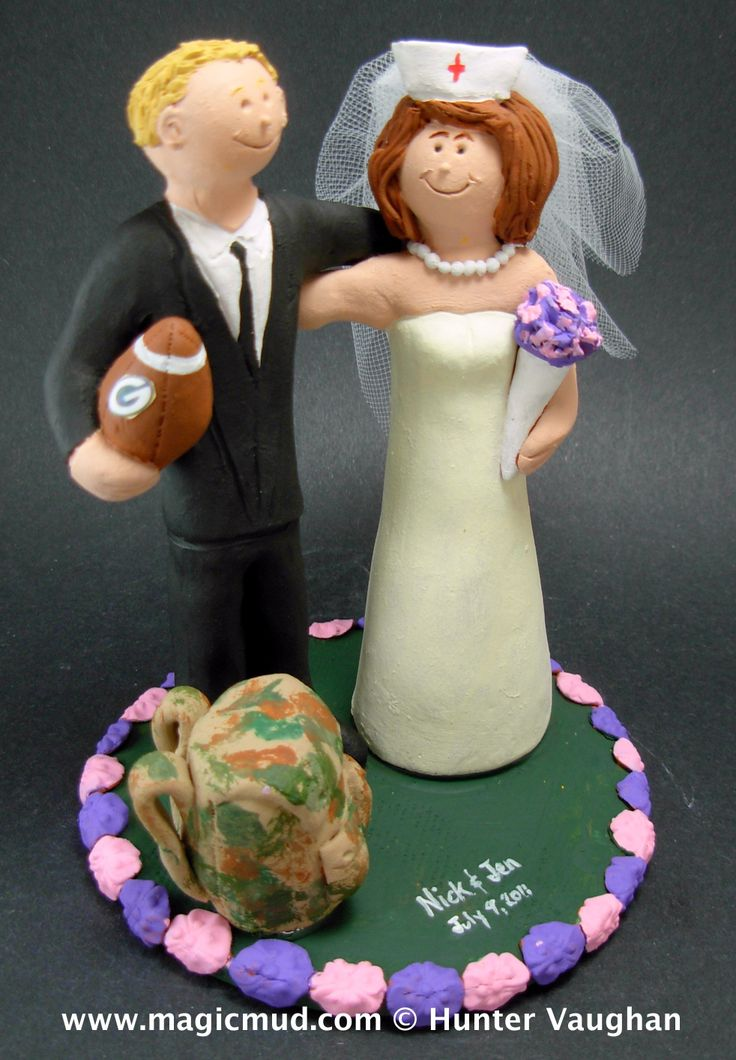 Nurse Marries Football Fan Wedding Cake Topper http://www.magicmud.com   1 800 231 9814  magicmud@magicmud.com $235  https://twitter.com/caketoppers         https://www.facebook.com/PersonalizedWeddingCakeToppers   #nurse#nursing#wedding #cake #toppers #custom #personalized #Groom #bride #anniversary #birthday#weddingcaketoppers#cake-toppers#figurine#gift#wedding-cake-toppers