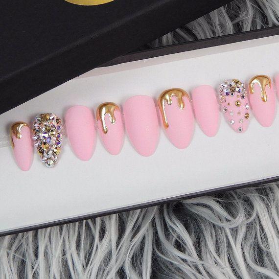 Matte Dripping Gold Press On Nails Swarovski by NailedByCristy