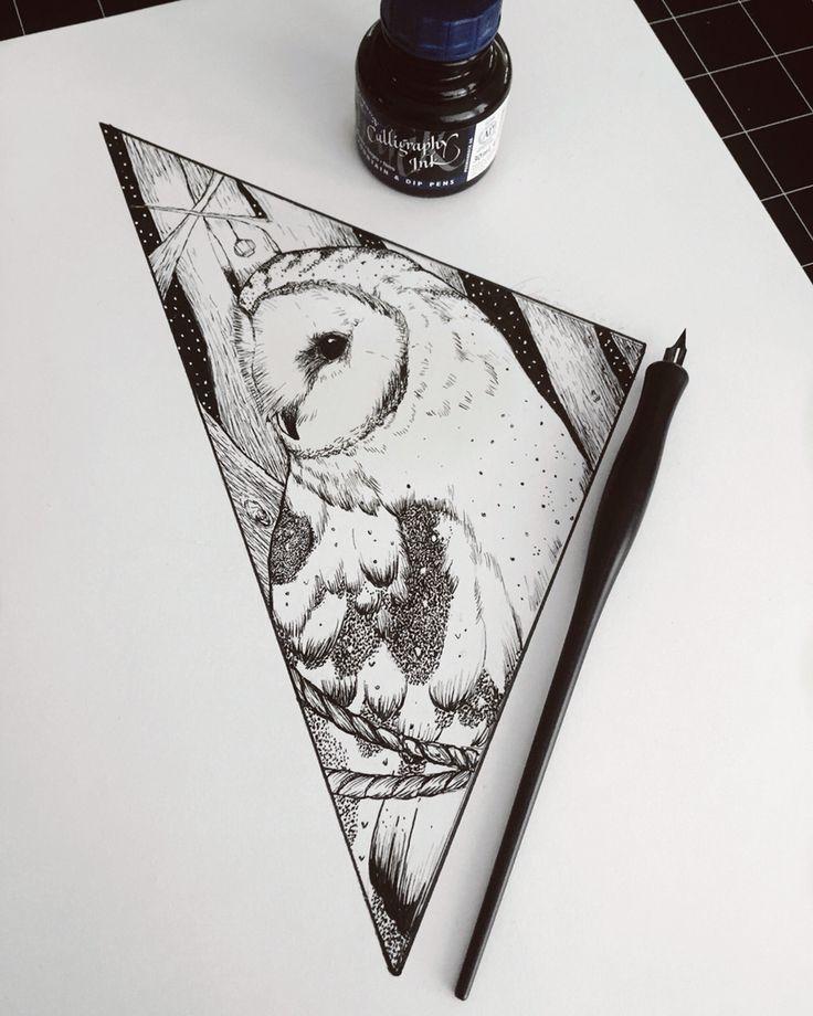 By: drewillustrates Geometric Owl Tattoo.  11x14 Ink on bristol Blackwork