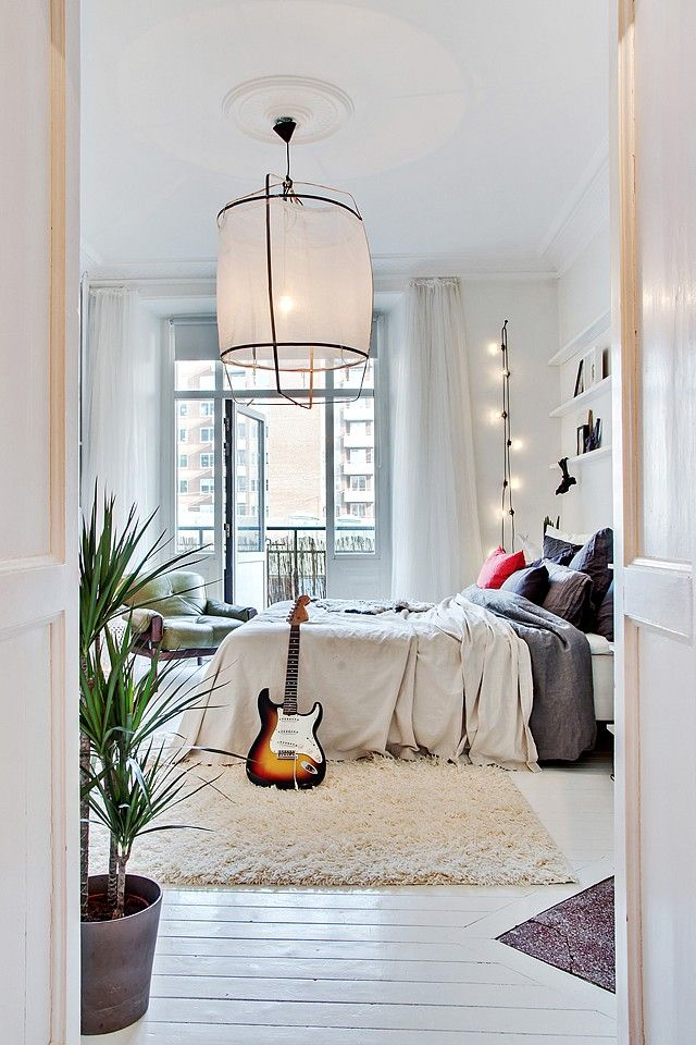 bedroom idea I love the hanging string of lights... working like a standing light fixture