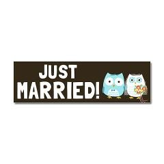 Just Married Owls Car Magnet 10 X 3 Wedding