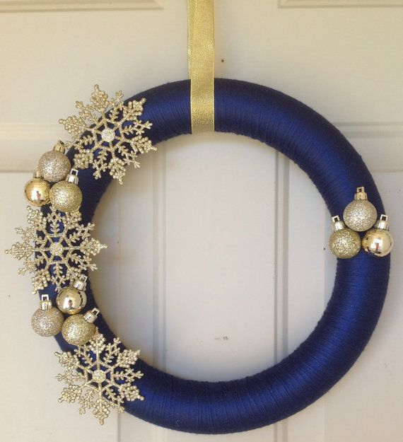 Blue and Gold Holiday Wreath by RGWreaths on Etsy, $27.00
