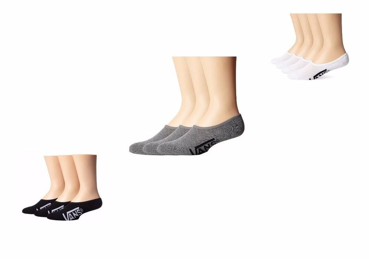 No Shoe Socks Vans No Slip Classic Super 3Pack White Black Grey Size US 6,5-9 #Vans #Black