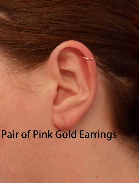 Pink Rose Gold Hoop Earrings Pair Cartilage Tragus Helix