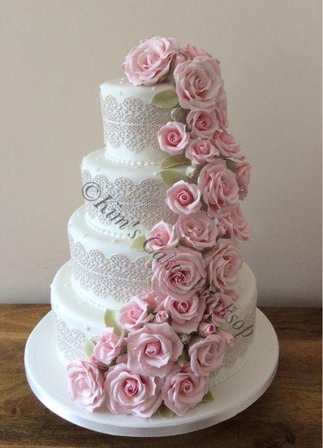 Four Tier Cascading Rose Wedding Cake