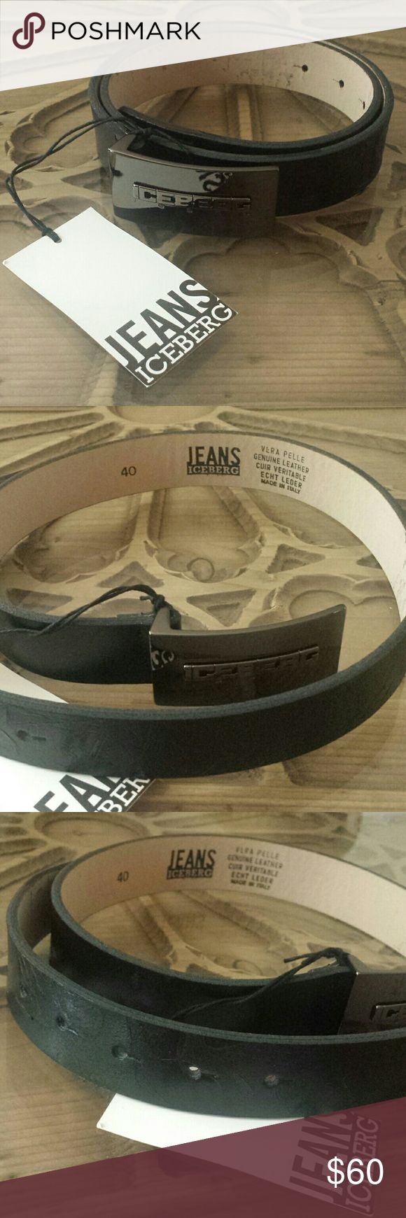 ICEBERG JEANS LEATHER BELT 40 Black leather Iceberg belt. Iceberg Accessories Belts