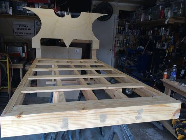 So a lady sent me a pic of a batman bed and asked if i could build it. I said sure. so i began. Started with 3/4 plywood. And started to lay out my shape, and making cuts with my jig saw. Next the frame its self. It is made solid, the outside...