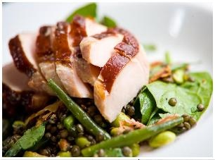 Smoked Chicken Salad with pancetta, Puy lentils, orange and chickpeas @ The Living Room