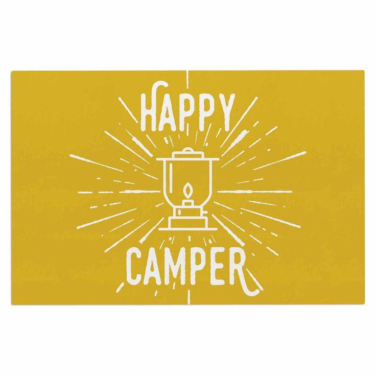 """Jackie Rose """"Happy Camper"""" Yellow Typography Decorative Door Mat"""