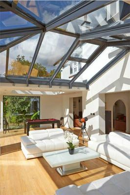 large glass roof orangery
