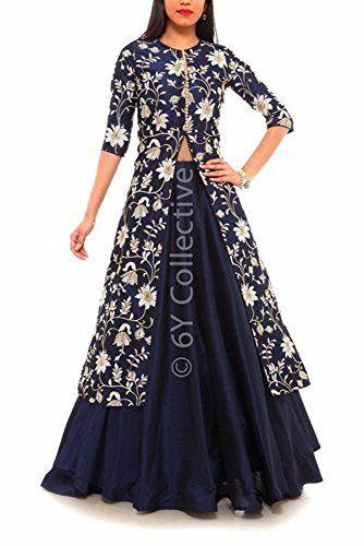 astha bridal women designer(D.No=108 blue indo western_blue_44)