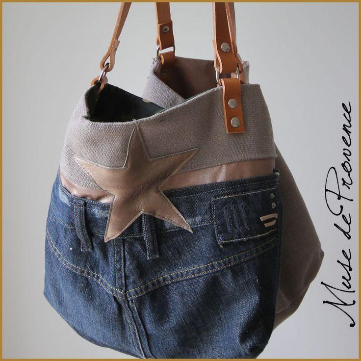 Cabas unique et original en jean's, cuir et toile de coton à voir chez www