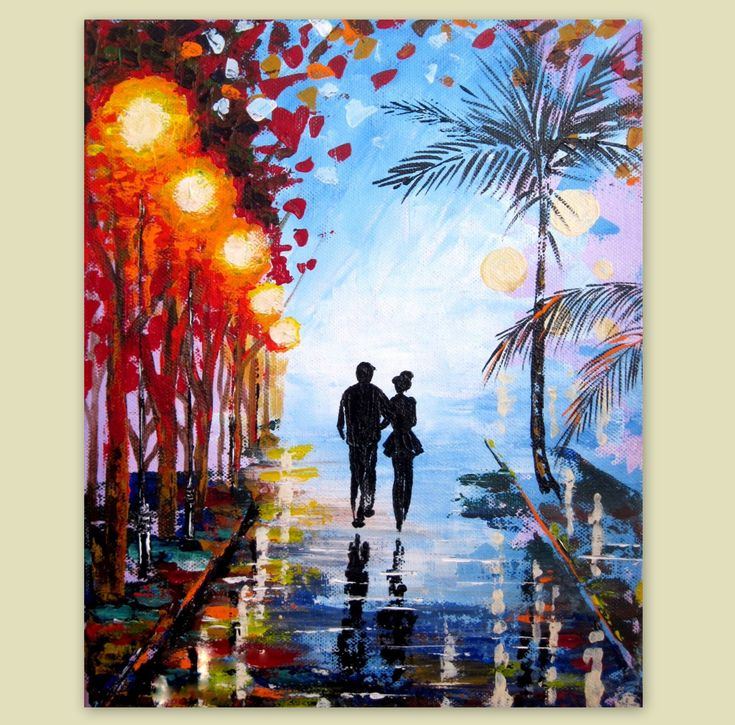 Large Original Acrylic Painting-Couple In Love-Night Scene